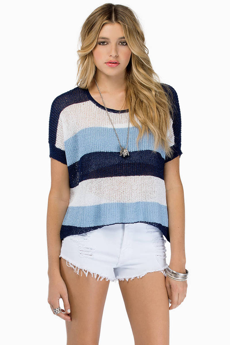 Yikes Stripes Navy Multi Sweater