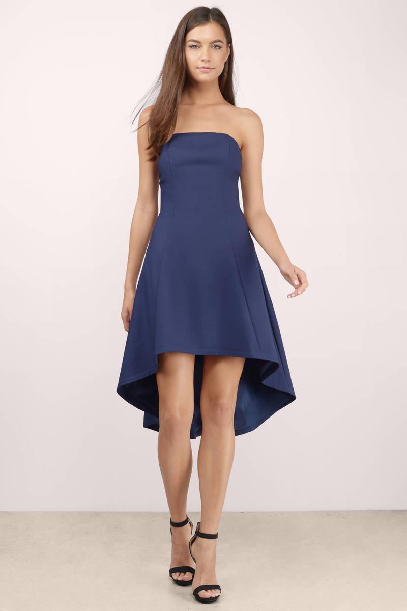Navy Blue Strapless Dresses