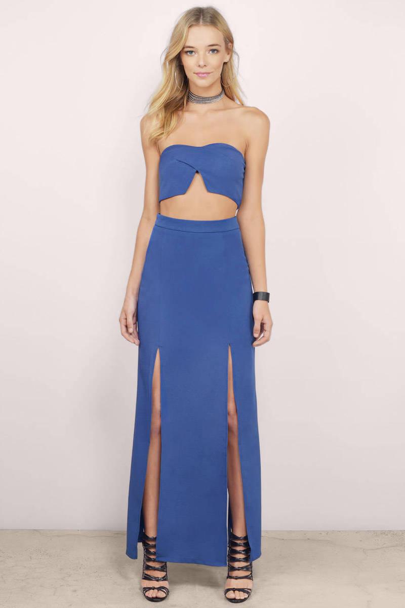 Navy Maxi Dress - Blue Dress - Two Piece Dress - Blue Maxi Dress ...