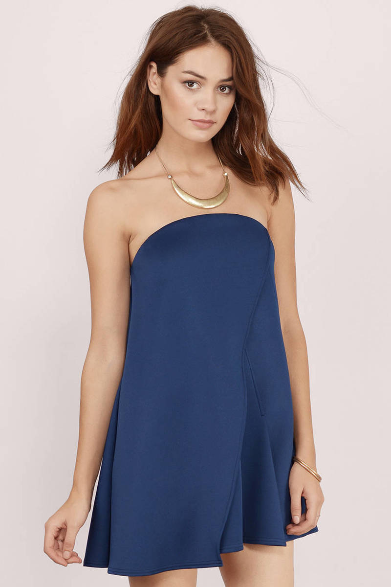 2fe3d37a66e Sexy Navy Dress - Strapless Dress - Blue Tube Dress - Shift Dress ...