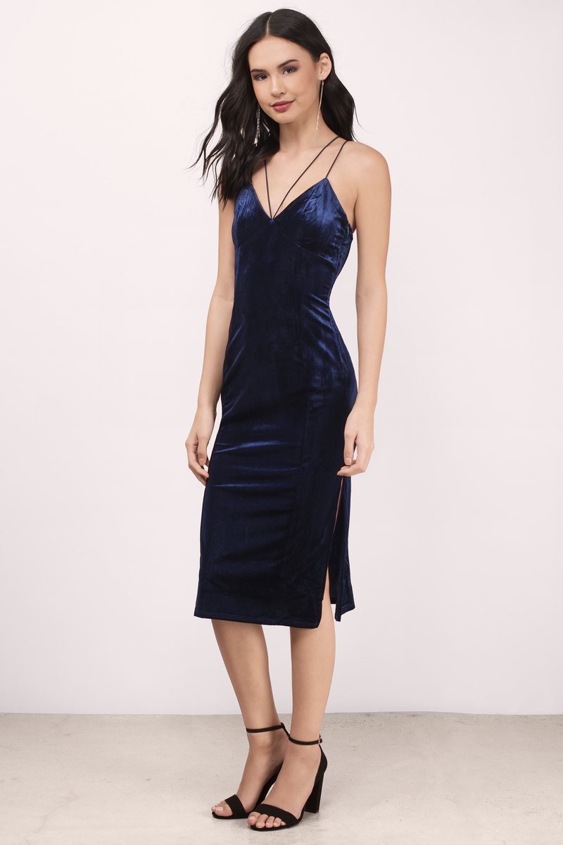 fc44e35fefde Navy Bodycon Dress - Strappy Dress - Indigo Dress - Blue Midi Dress ...