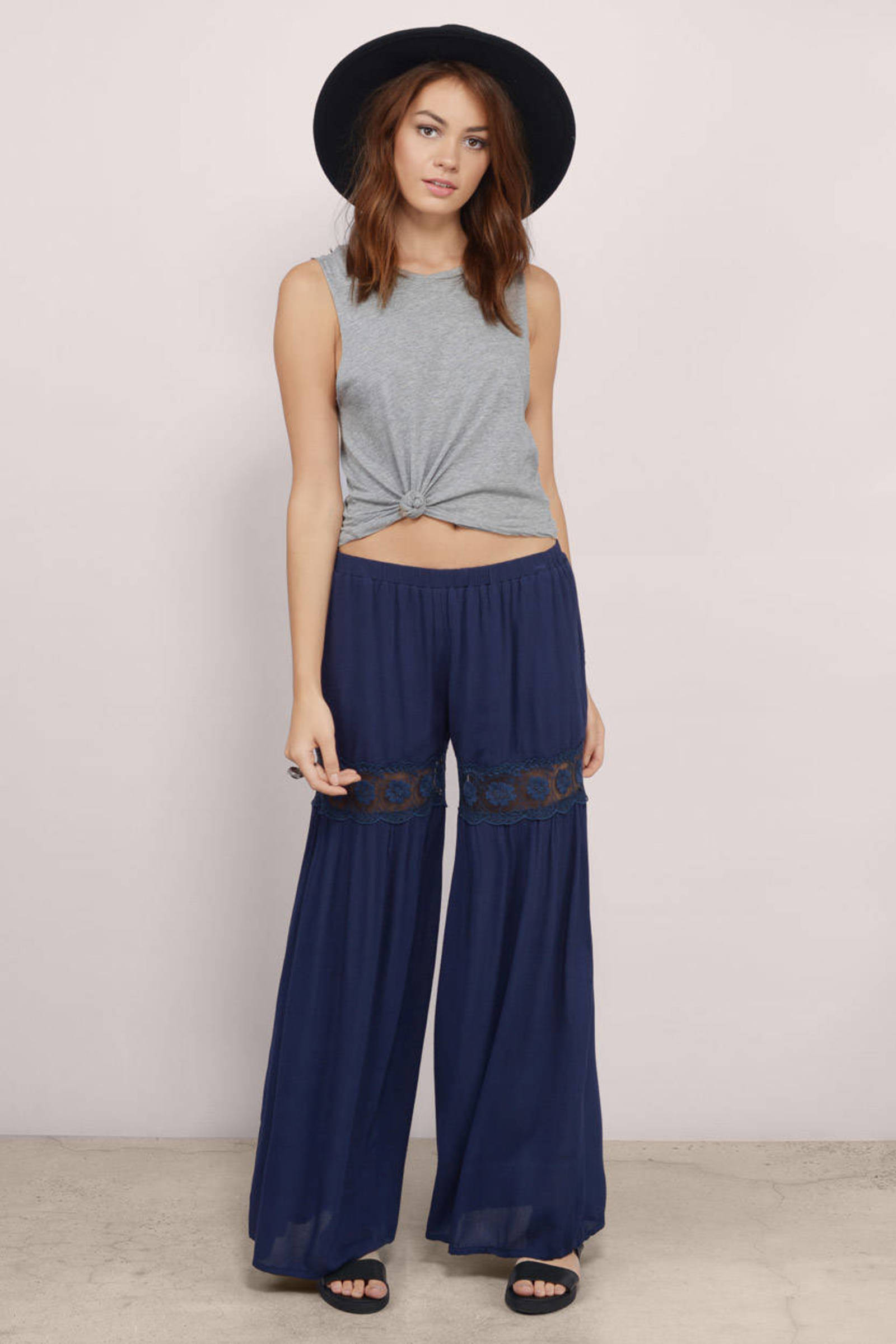 Navy Pants - Blue Pants - Wide Leg Pants - $9.00