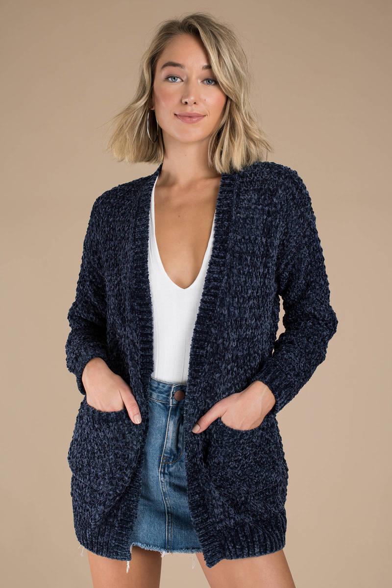 Navy Blue Cardigan - Knit Cardigan - Navy Blue Chenille Cardigan ... 4c02eb568