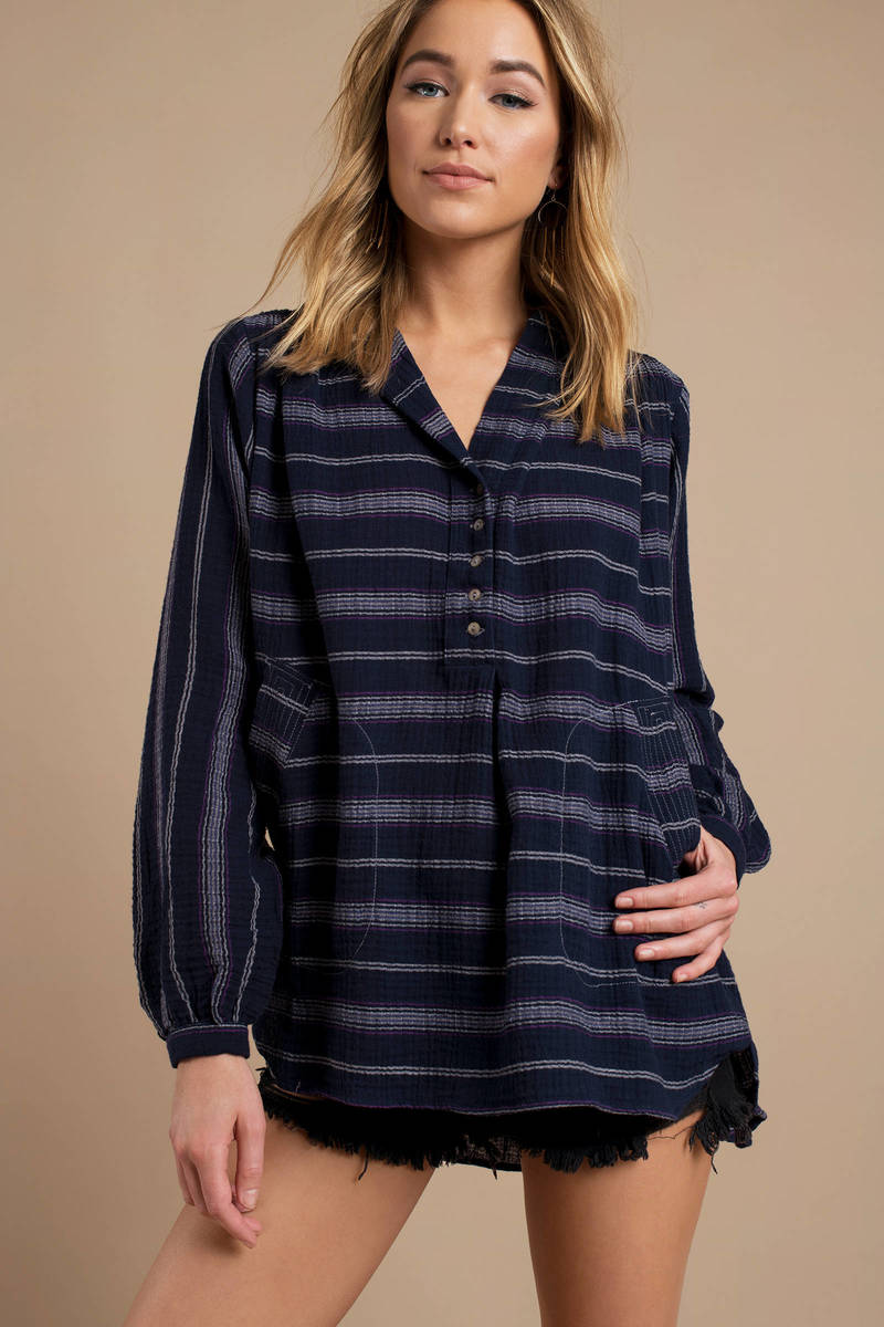 7d119a8724d Blue Free People Shirt - Boho Tunic Top - Blue Striped Top - $49 ...