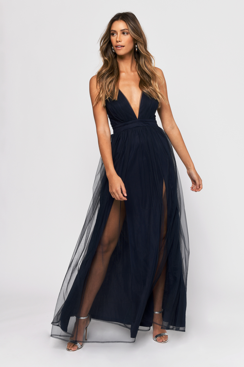 1f2eef90988c8 Navy Blue Maxi Dress - Plunge Dress - Navy Blue Tulle Dress - Formal ...