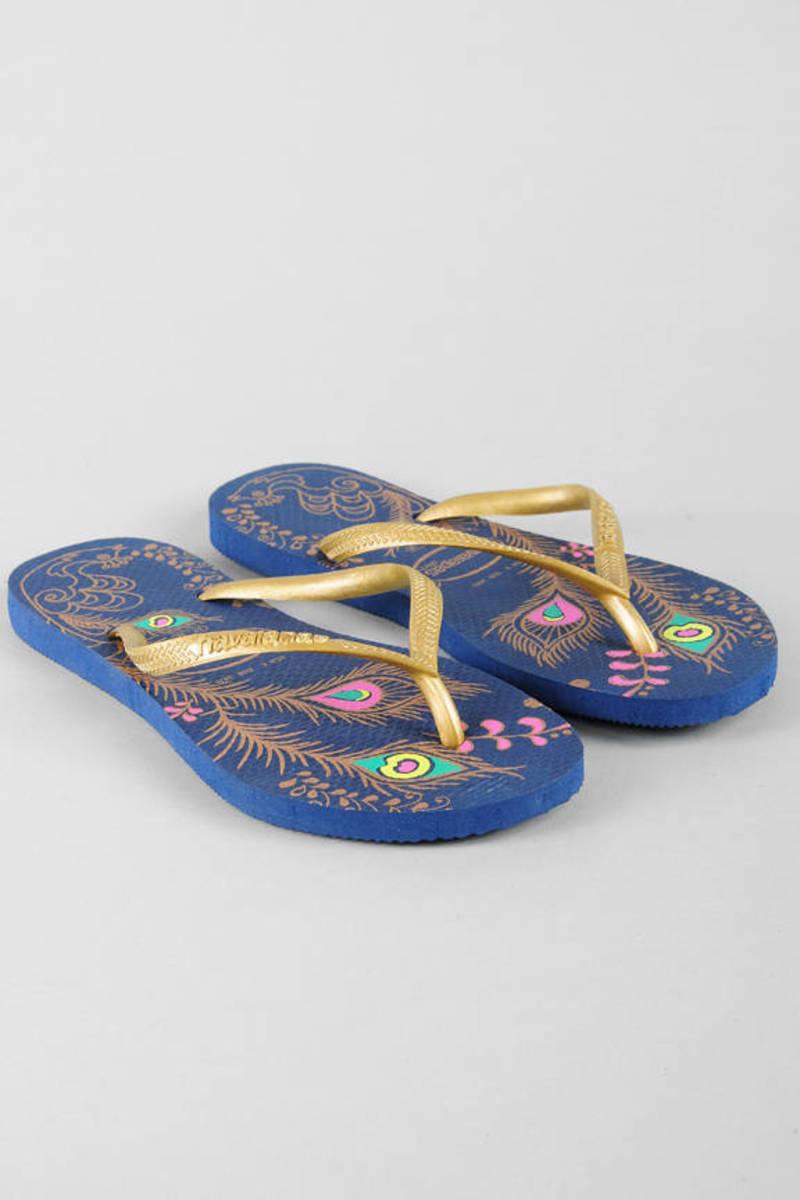 11865f42b Blue Havaianas Sandals - Printed Sandals - Blue Boho Inspired Flip ...