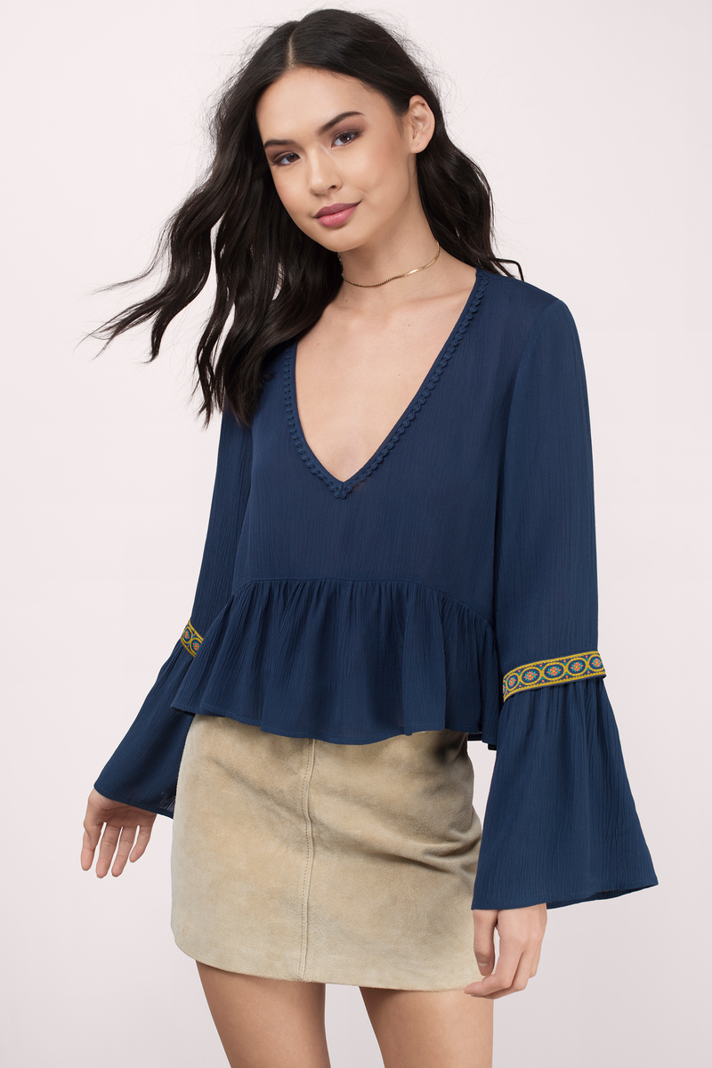 931085caf8e61b Cute Navy Blouse - Blue Blouse - Long Sleeve Blouse - Navy Blouse ...