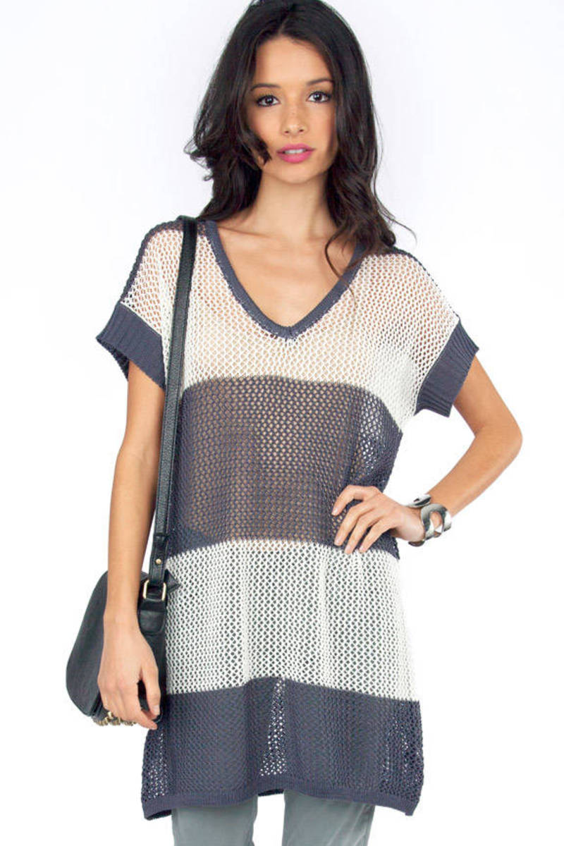 Spaced Out Navy Striped Tunic Top
