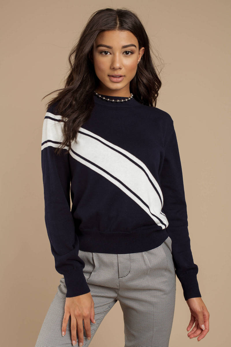 b8af188320 Navy The Fifth Label Sweater - Crew Neck Jumper - Navy Blue Striped ...
