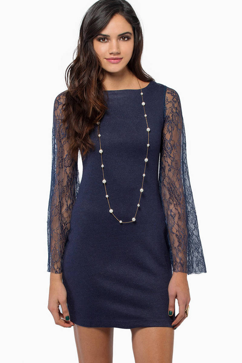 The Standard Navy Lace Sleeve Bodycon Dress