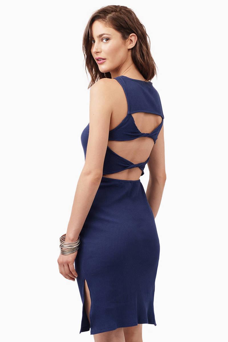 796075abb6c Navy Midi Dress - Blue Dress - Cut Out Dress - Midi Dress - 96 kr ...