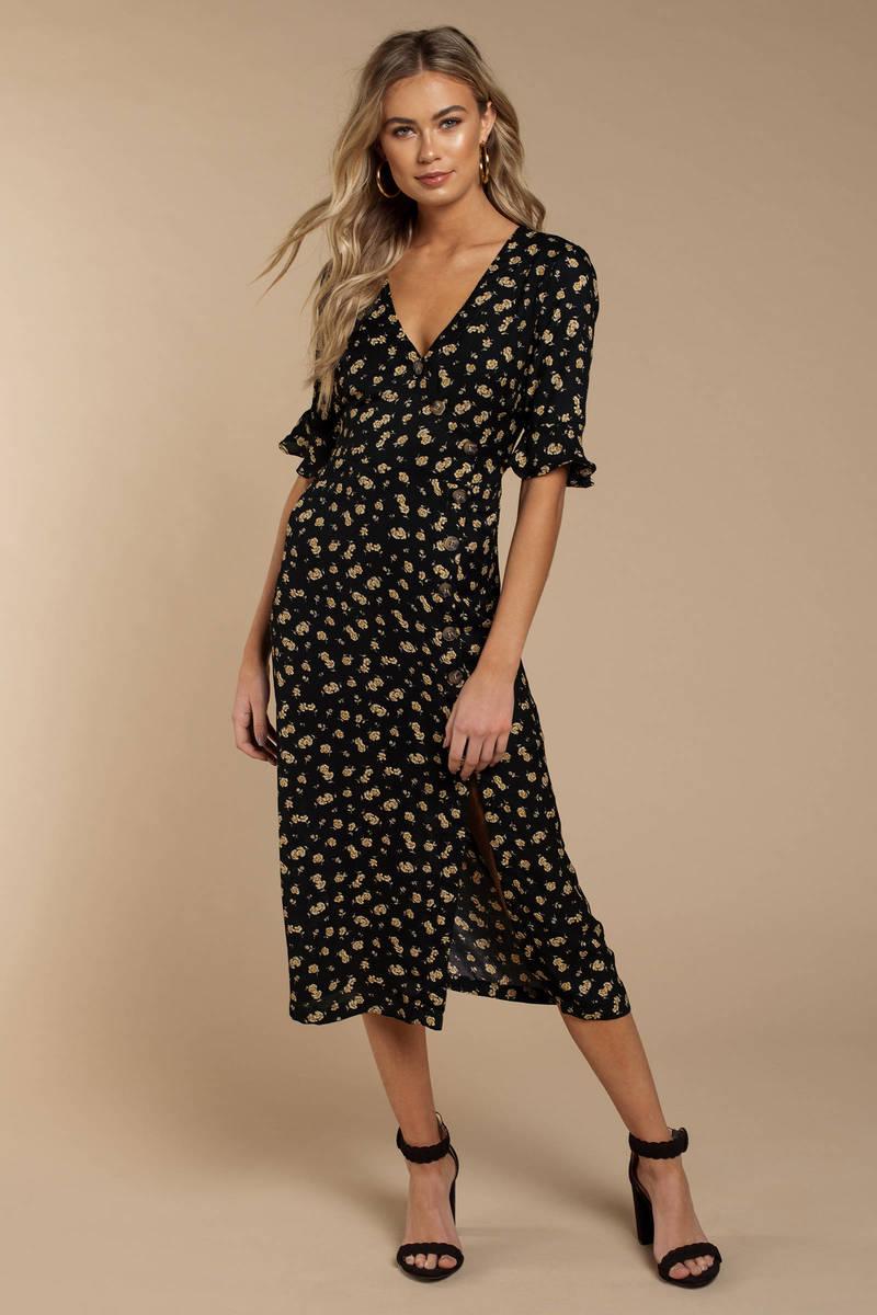 6baf09823d Tori Navy Floral Print Midi Dress - $80 | Tobi US