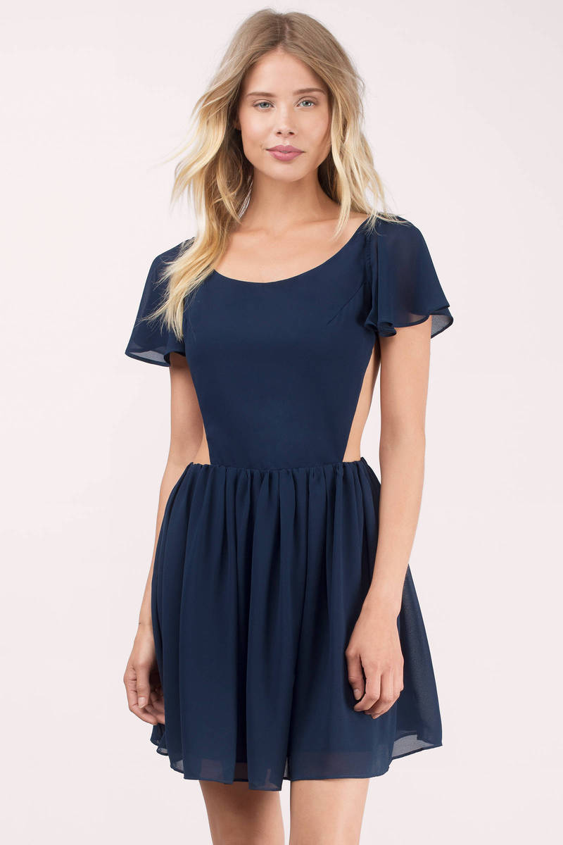 774b4c38c09 Navy Skater Dress - Blue Dress - Flare Dress - Navy Short Sleeve ...