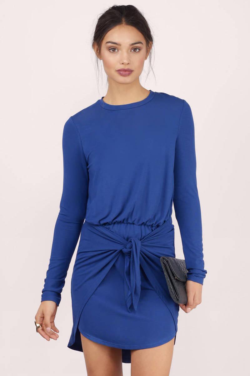 9a386bfaf02c3 Trendy Navy Wrap Dress - Long Sleeve Dress - Wrap Dress -  9