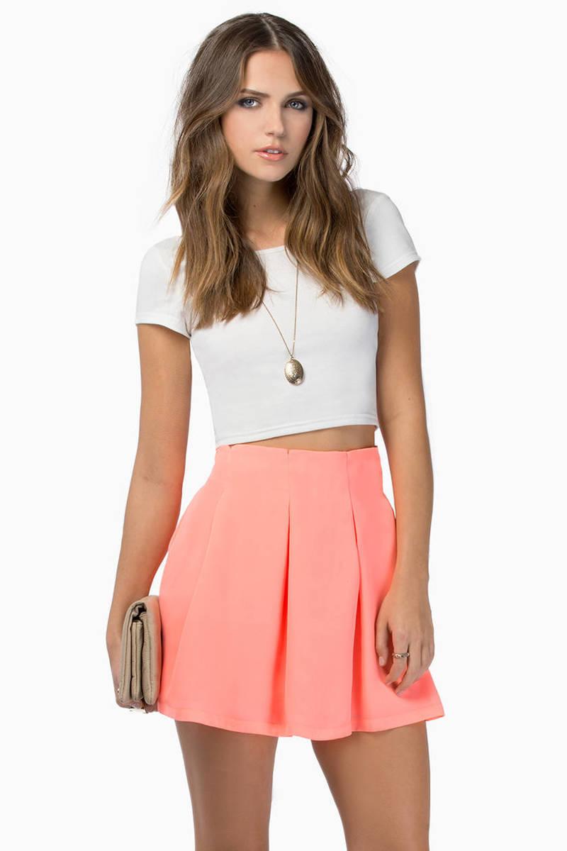 Casting Spells Neon Coral Skater Skirt