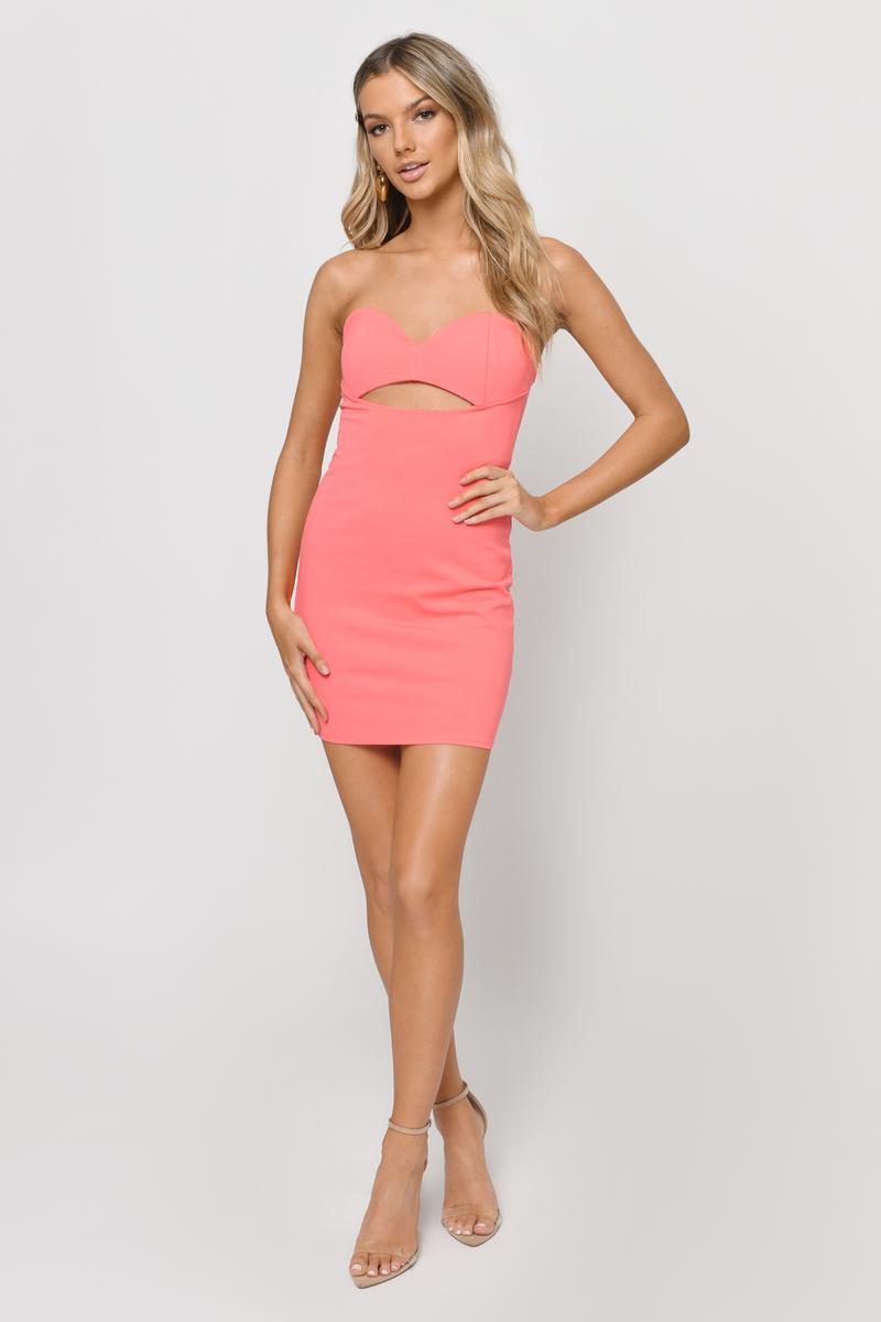 Giving Into You Neon Coral Bodycon Dress