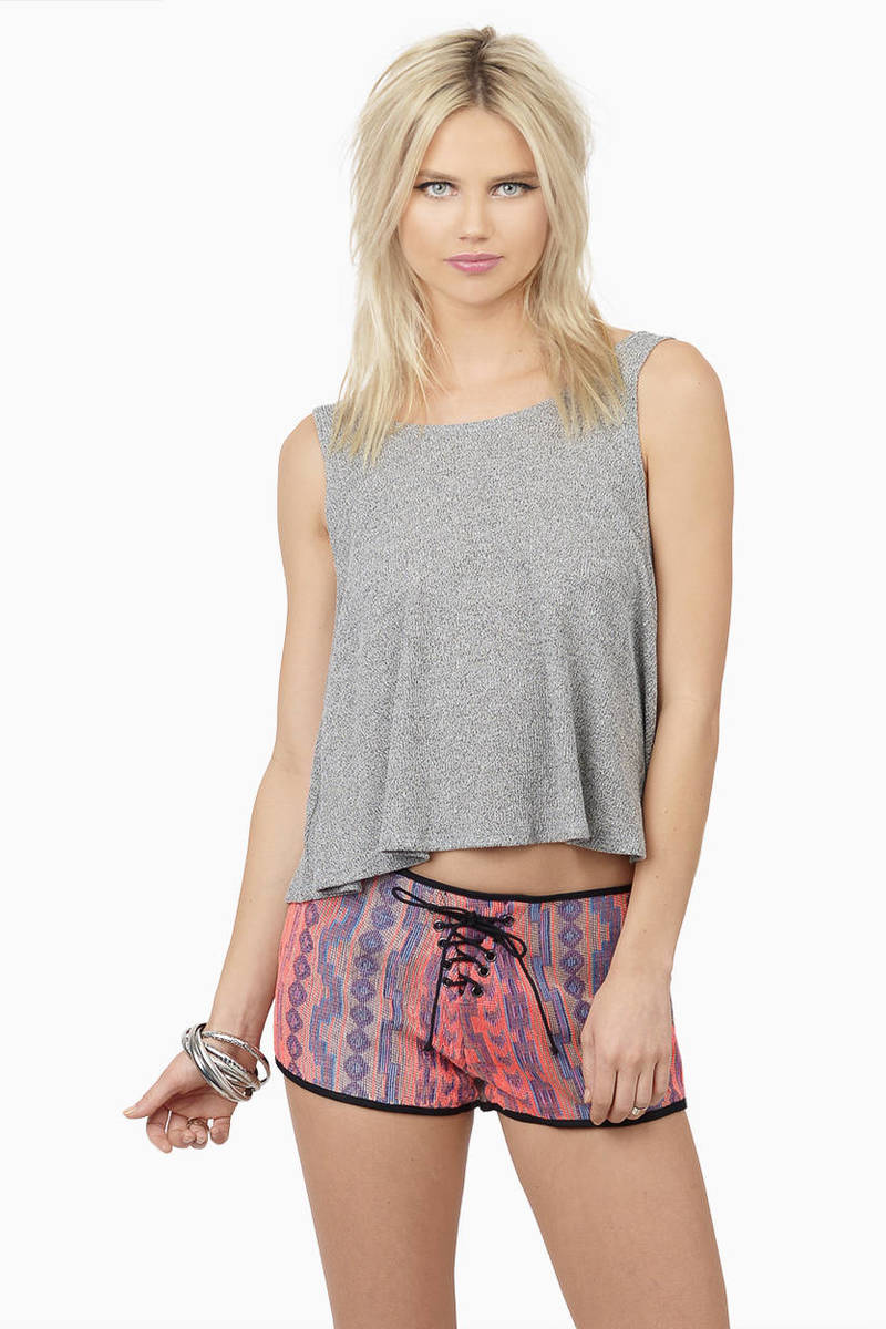 San Juan Neon Coral Multi Aztec Print Shorts