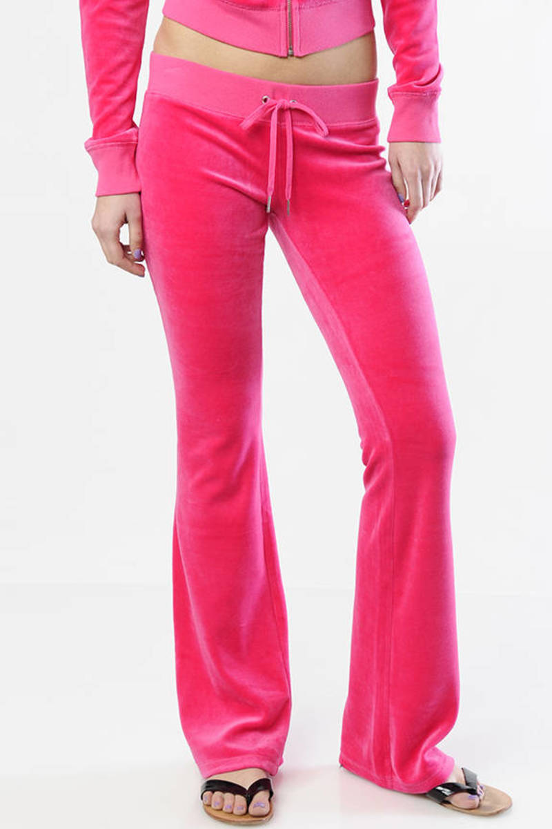 dbf19e27863b3 Pink Juicy Couture Pants - Designer Sweatpants - Pink Skinny Flare ...