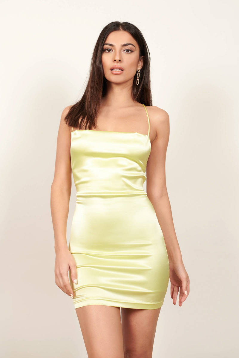 Neon Lime Satin Lace Up Bodycon Dress