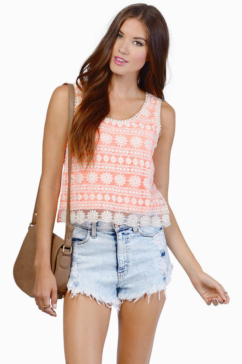 Sundial Neon Orange Tank Top