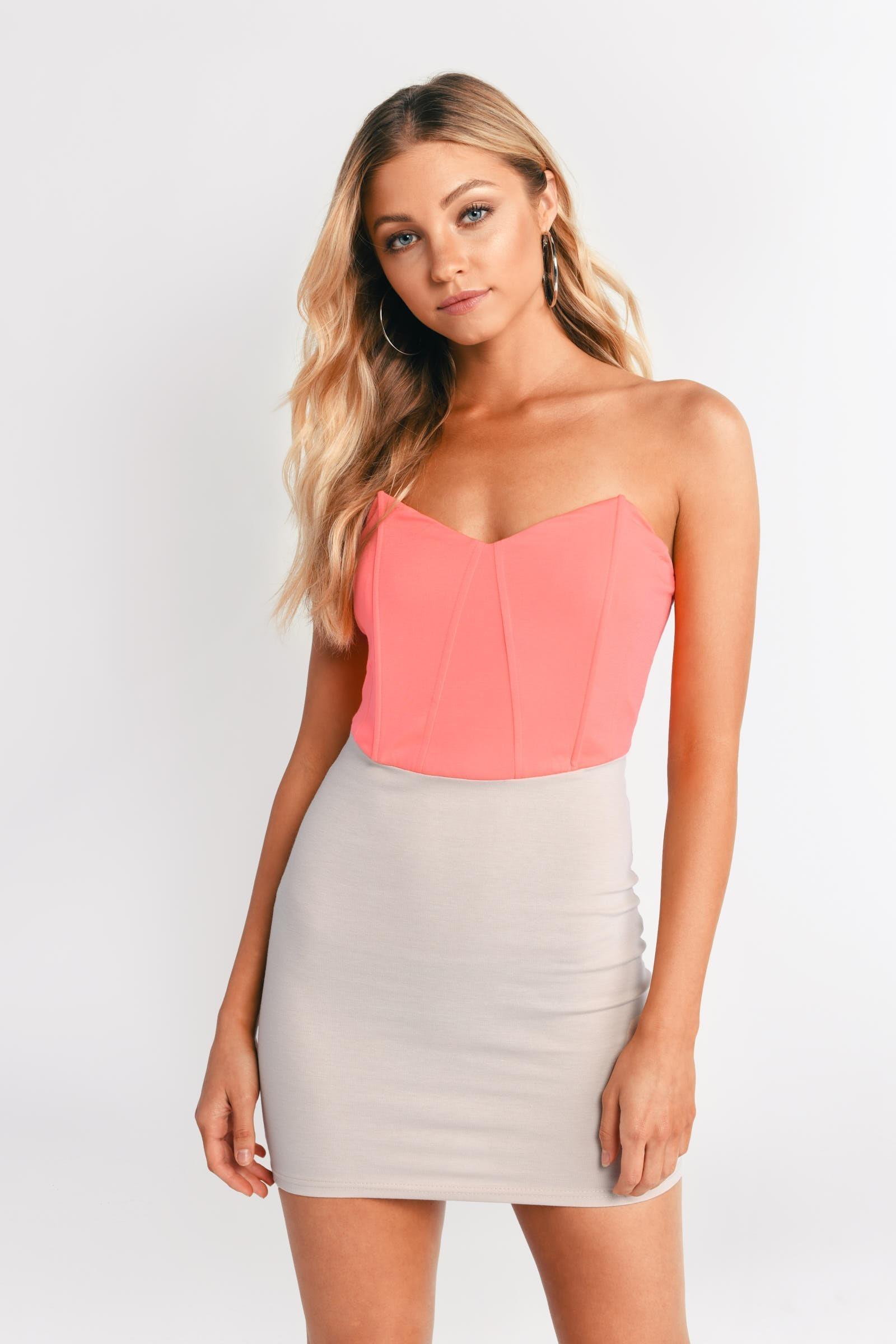 Neon Pink & Beige Bodycon Dress - Strapless Dress - $8.00