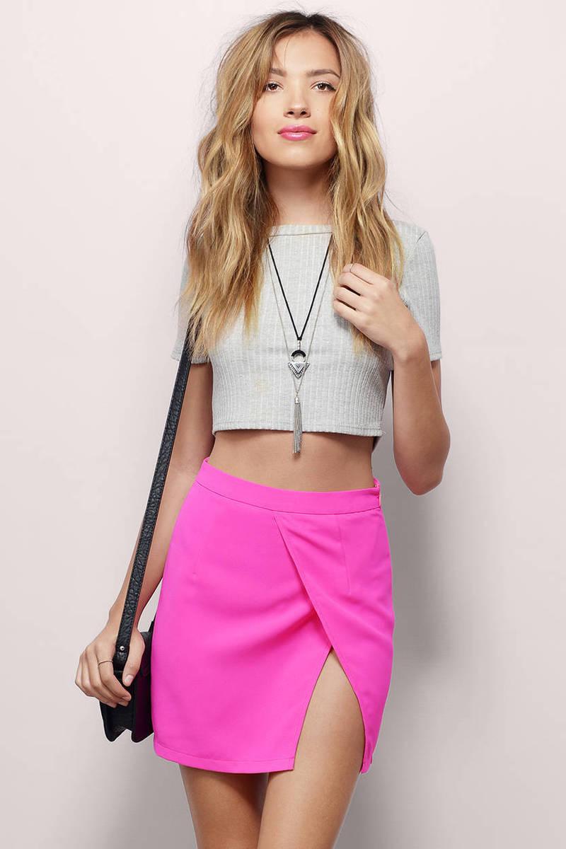Desiree Neon Pink Surplice Mini Skirt