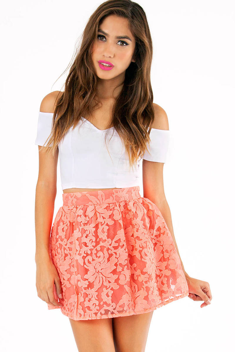 Electric Garden Neon Pink Floral Skirt