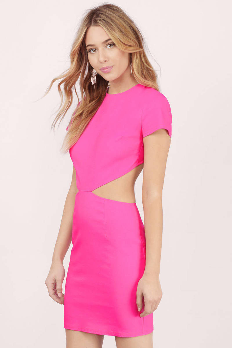 Sexy Neon Pink Bodycon Dress - Cut Out Dress - Bodycon Dress - $14.00