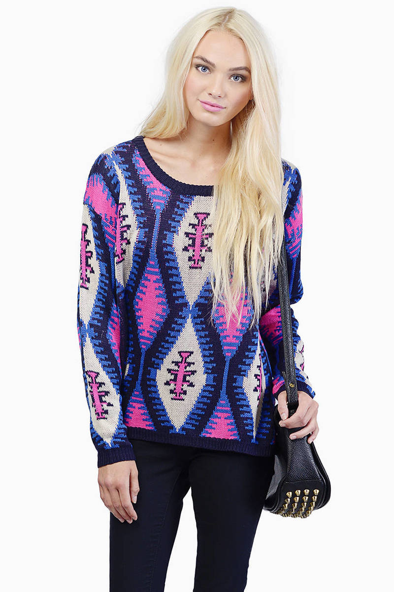 Pretty In Punk Neon Pink Tribal Print Sweater