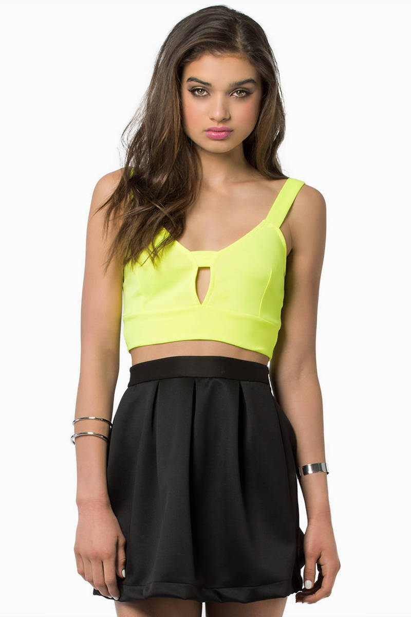 neon yellow crop top - yellow top - cut out top