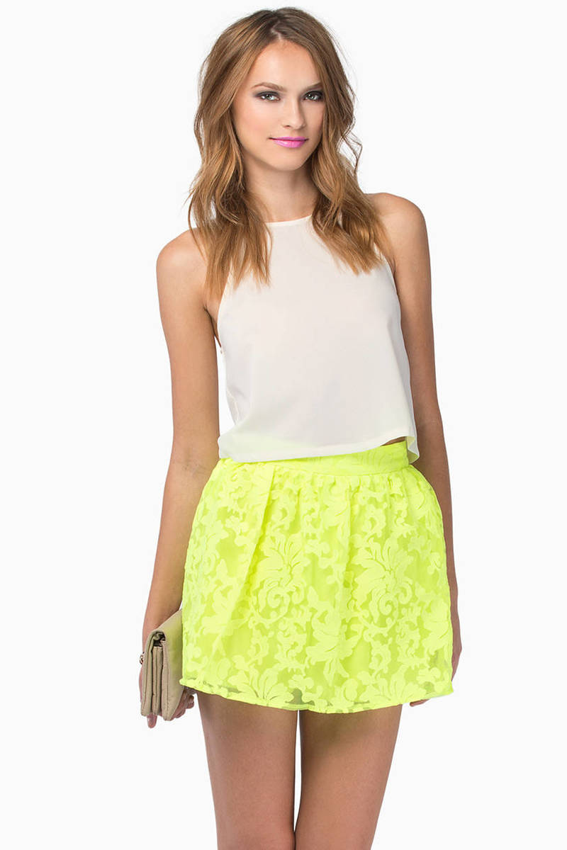 Electric Garden Neon Yellow Floral Skirt