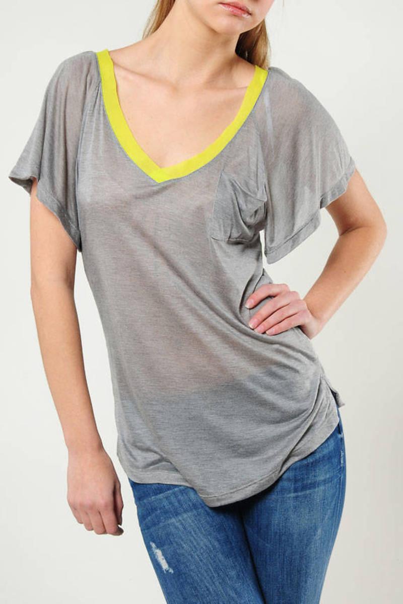 Silk Contrast V neck Oversize Top