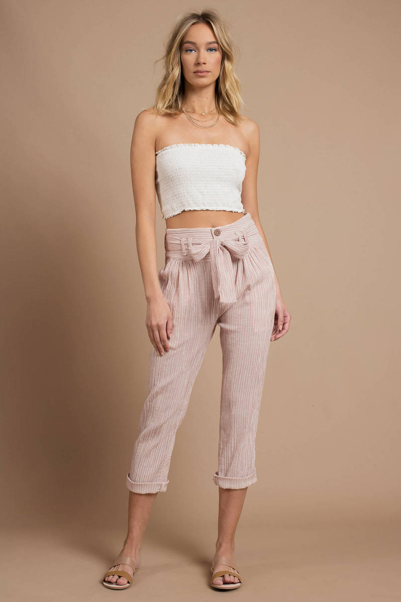 d787ed8ee82f Blush Pink Free People Pants - Capri Pants - Blush Pink Summer Pants ...