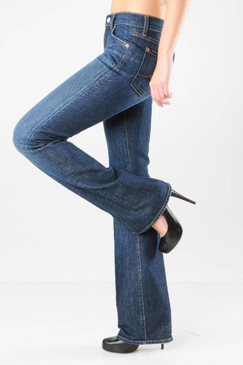 86d93ff08ff Blue 7 For All Mankind Jeans - Cool Flared Jeans - Blue Low Rise ...
