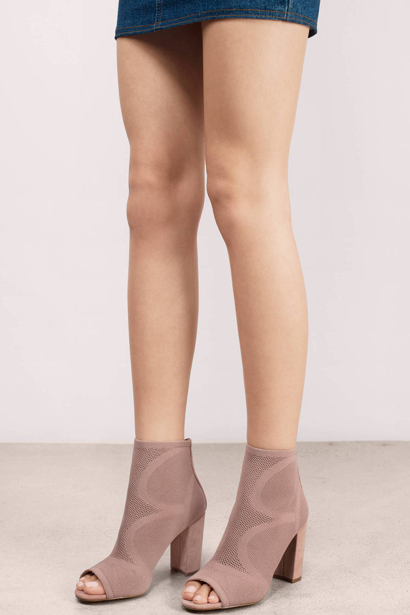 6dcf3a490e0 Nude Booties - Heeled Boots - Mesh Booties - Nude Boots -  70