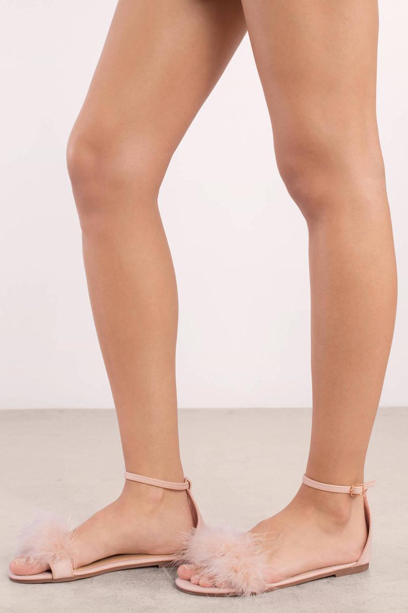 Amanda Nude Faux Feather Trim Sandals