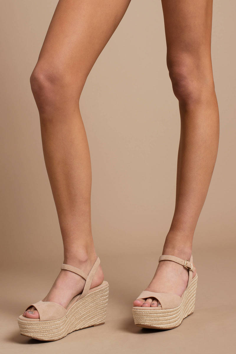 c8f3907652 Nude Chinese Laundry Wedges - Summer Wedges - Nude Ankle Wrap ...