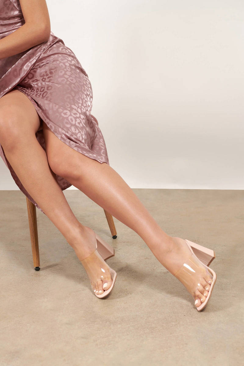Clear Head Nude Lucite Mules - $34