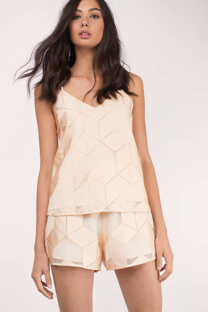 Finders Keepers Finders Keepers Insominia Nude Cube  Satin Sheer Shorts