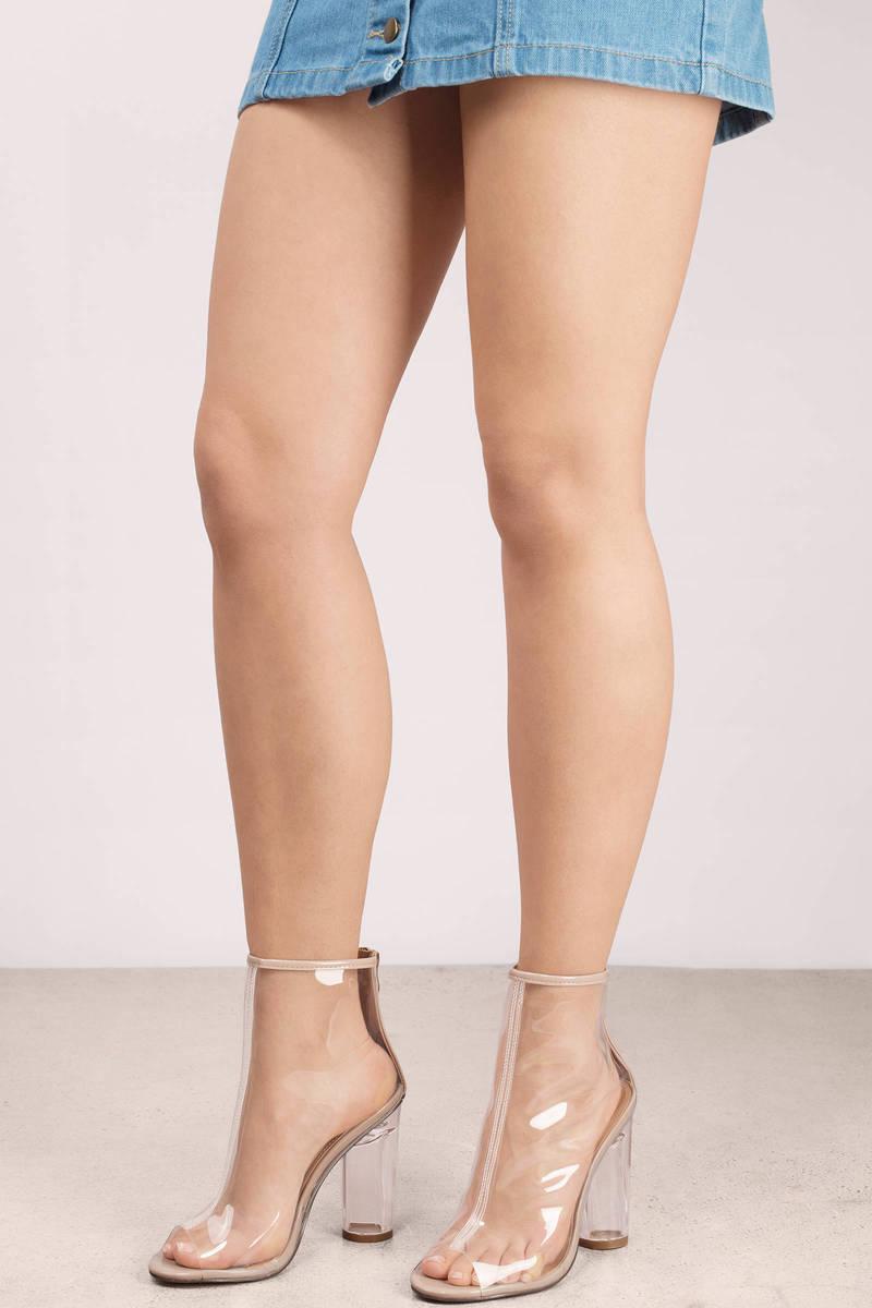 Mariko Nude Lucite Peep Toe Booties