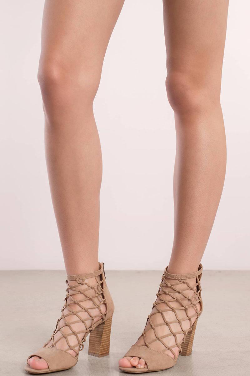 Report Footwear Report Footwear Mixie Nude Caged Peep Toe Heel