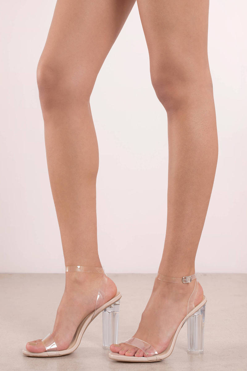 Mono Nude Lucite Ankle Strap Heels