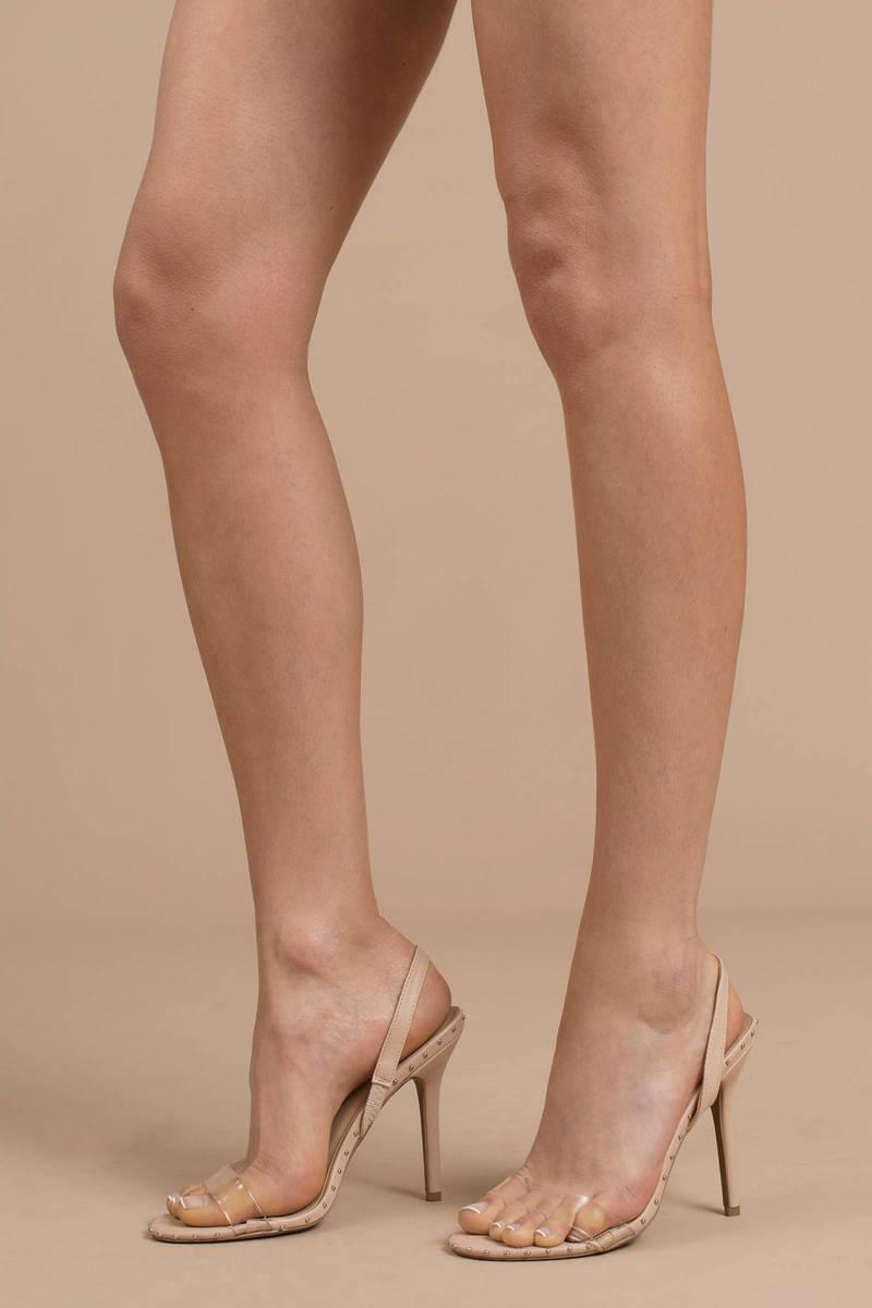 9a0c73445b Clear Heels - Studded Heels - Clear Slingback Heels - $17 | Tobi US