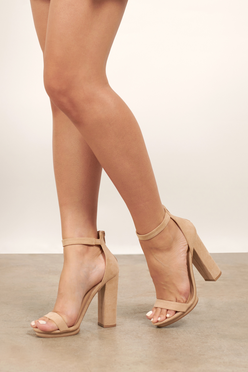 79f85756c62 Lovely Nude Heels - Ankle Wrap Heels - Nude Birthday Heels - $34 ...