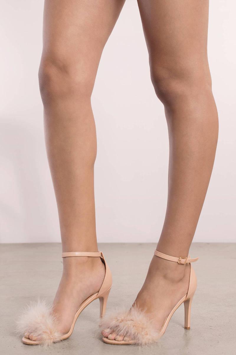 Penelope Nude Feather Trim Heels | Tobi