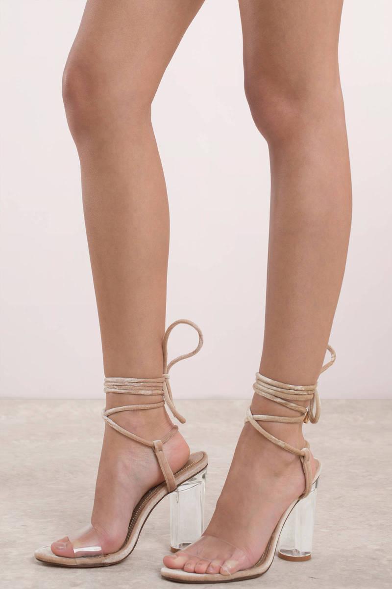 89558b548f3f Trendy Nude Heels - Strappy Lucite Heels - Nude Clear Heels -  36 ...