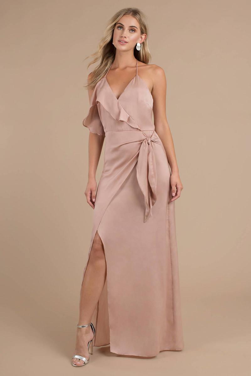 bfdd628f2f32 Stylestalker Tessa Nude Halter Maxi Dress - £114 | Tobi GB