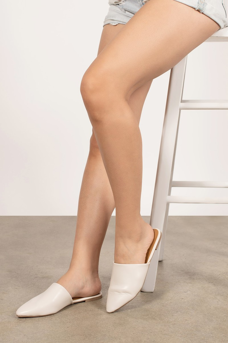 Ally Off White Pointed Toe Mule Slides