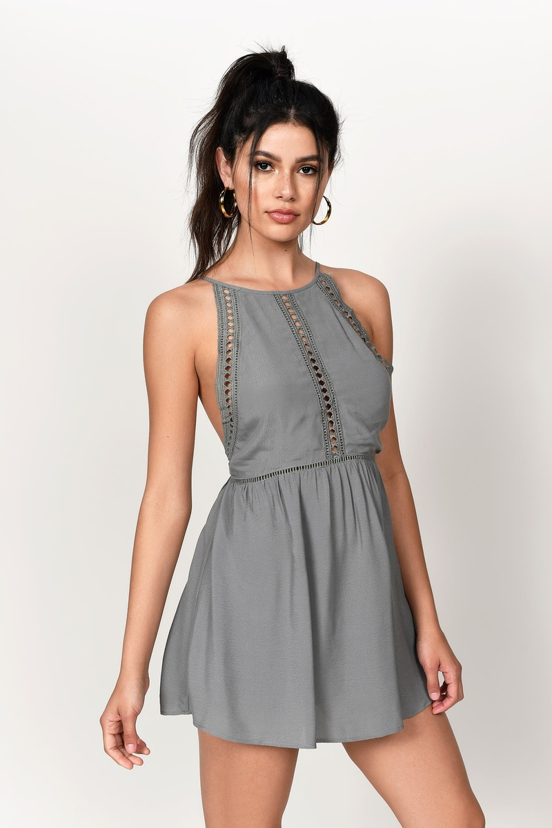 Cute Olive Dress Open Back