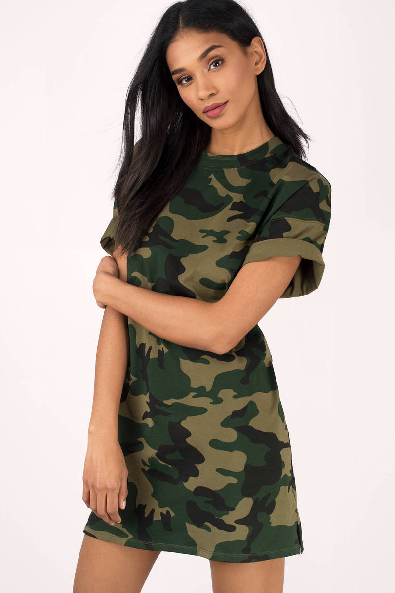 After Party Olive Camo T-Shirt Dress